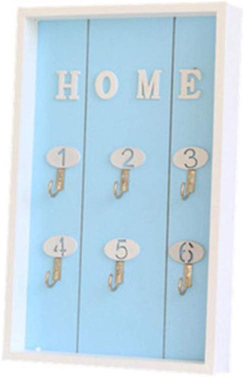 Kentop Porte-cl/é en Bois avec 6 Crochets pour cl/és Bleu Support Mural 30/×20/×3cm Bois