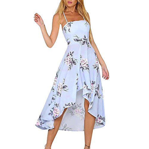 Clearance Women's Dresses-Summer Floral Bohemian Spaghetti Strap Asymmetrical Sleeveless Swing Midi Dress (XL, Blue)