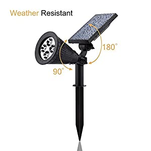 URPOWER Solar Lights 2-in-1 Solar Powered 4 LED Adjustable Spotlight Wall Light Landscape Light Bright & Dark Sensing Auto On/Off Security Night Lights for Patio Yard Stairs Pool (Changing Color) (2)