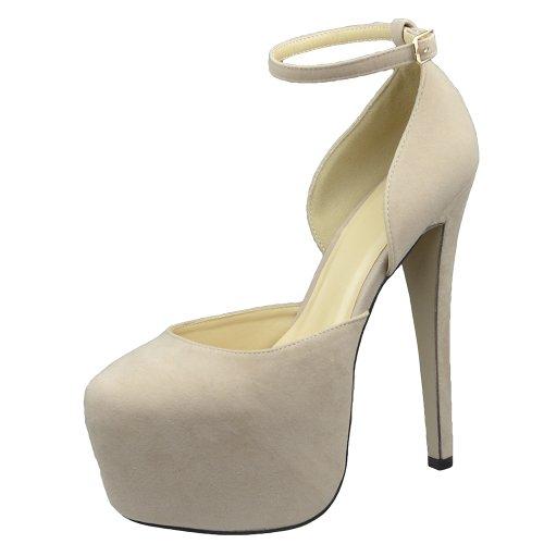Womens Platform Shoes Back Strap Mid Open Stiletto Pumps Nude Nude PzKaT42mo