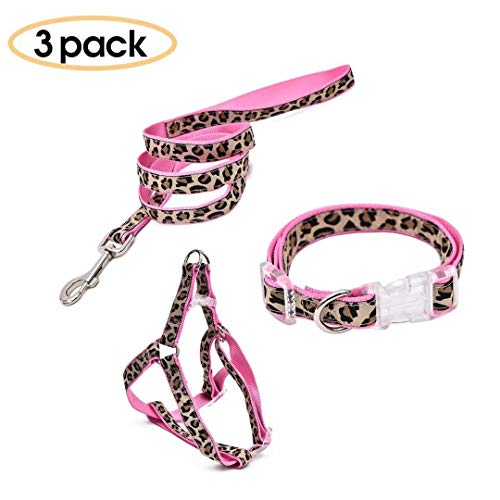 Collar Pink Leopard - PAWZ Road Leopard Pet Leash Collar Harness Set Pink S