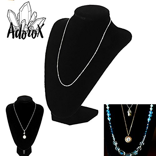 Adorox Black Velvet Necklace Pendant Chain Jewelry Bust Display Holder Stand (1, Black) (Soma Stand)