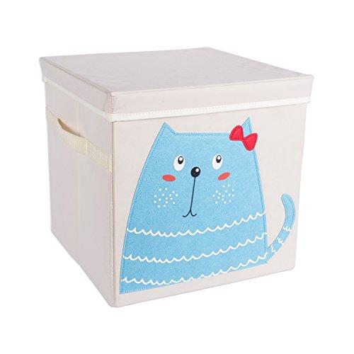 DII Nursery Storage Bins for Toys, Clothing, Books, Cube Organizers ((13 x 13 x 13), Kitty, w/Lid