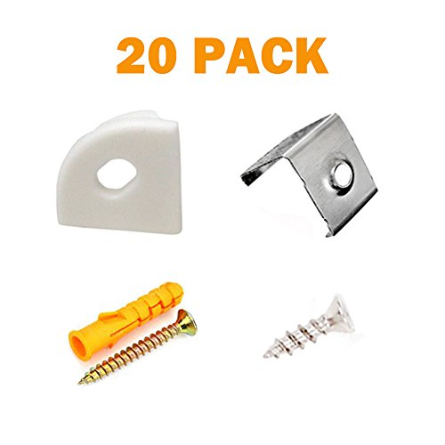 """Price comparison product image 20PCS Metal Mounting Clips and End Caps with Screws for StarlandLed V Shape LED Aluminum Channel (For Asin """"B01LL3S006""""""""B01MCX0N15"""" """"B01MXERWHZ"""")"""