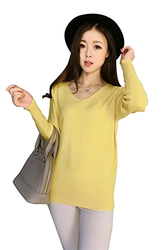 yellow Longues Pullover Chaud V Casual Eagsouni En Blouse Cachemire Sexy Pulls Femmes Hiver Pull Tops Sweater Manches Tricot Col qYqBUR6x