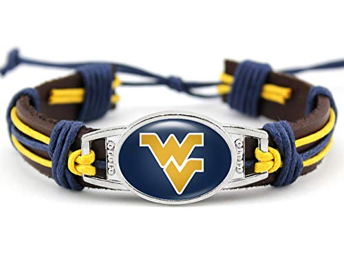BAS West Virginia Mountaineers Real Leather Adjustable Cord Tie 7