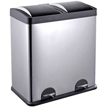 Step N' Sort 16-Gallon 2-Compartment Trash and Recycling Bin - Stainless Steel