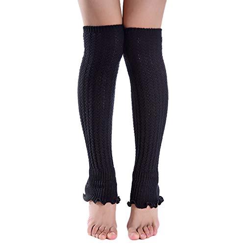 CHIRORO Vrouwen Winter Leg Warmers Kniesokken Lange Voetloze Boot Sokken Warm Gehaakte Gebreide Ruche Sokken, Zwart…