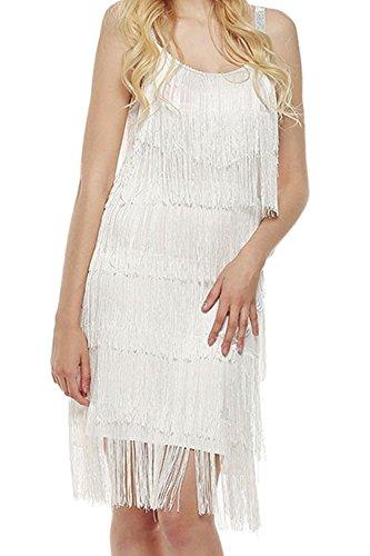 50s Costumes Ebay (Beautifullight Fashion Women Straps Dress Tassels Glam Party Dress Gatsby Fringe Flapper Costume Dress(White,M))