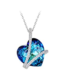 EleQueen 925 Sterling Silver CZ Heart of Ocean Titanic Inspired Pendant Necklace Adorned with Swarovski® Crystals