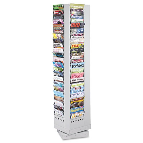 Safco : Steel Rotary Magazine Rack, 92 Pockets, 14 x 14 x 68, Gray -:- Sold as 2 Packs of - 1 - / - Total of 2 Each