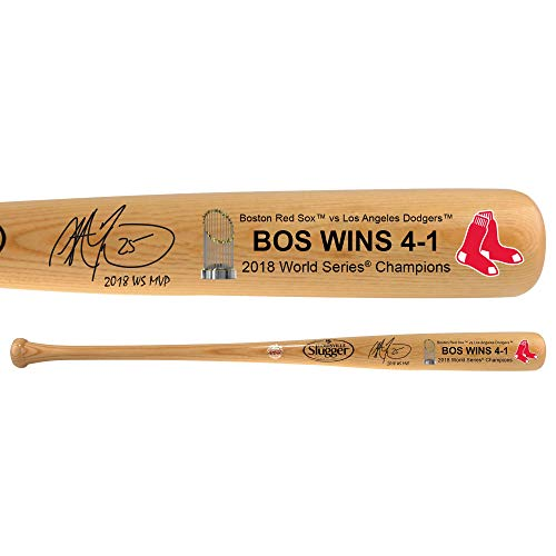 - Steve Pearce Boston Red Sox 2018 MLB World Series MVP Autographed Louisville Slugger Blonde Logo Bat with
