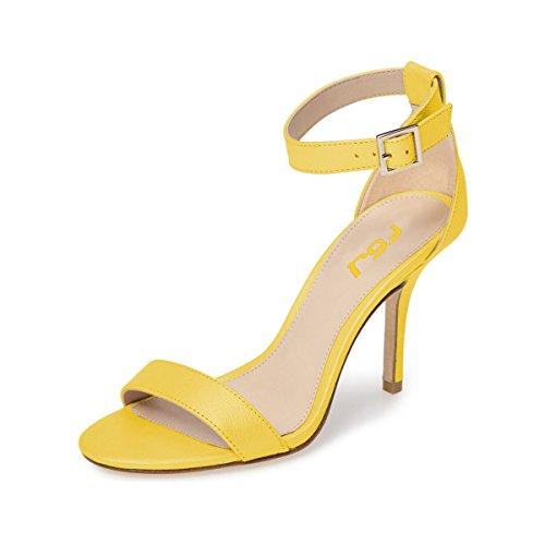 FSJ Shoes Yellow Comfort Ankle Sandals Heels Buckle Stiletto US Strap Toe Size Mid Women 15 Summer Open 4 r7qSr