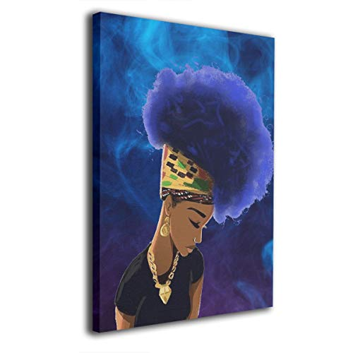(Art-Logo African Woman Purple Natural Hair Afro Ethnic Modern Canvas Wall Art Photo Printed On Canvas Framed Artwork for Office Wall Decoration Ready to Hang 16x20in)
