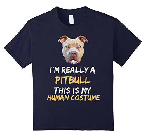 Pitbull Halloween Costumes (Kids This Is My Humans Costume I'm a Pitbull Halloween t-shirt 10 Navy)