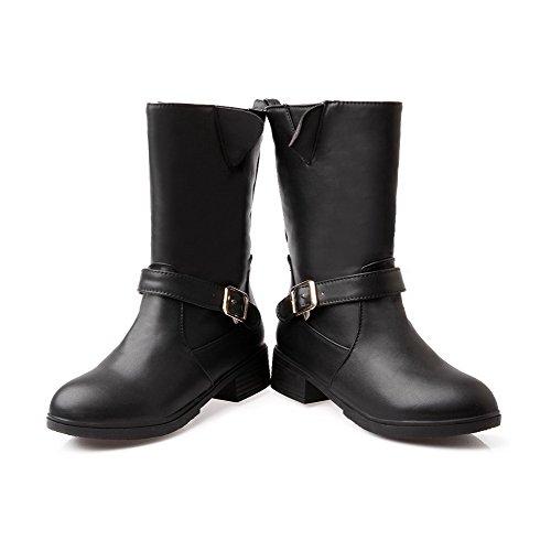 AllhqFashion Mujeres Sin cordones Mini Tacón Pu Sólido Caña Baja Botas con Hebilla Negro