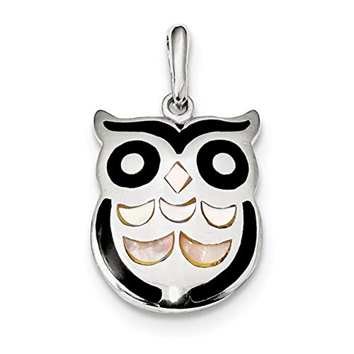 - Solid .925 Sterling Silver MOP and Onyx Owl Pendant 28.5 mm
