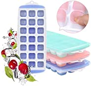 Ice Cube Trays with Lid 3 Pack, [2021 Upgraded] Easy-Release and Flexible BPA Free 63-Ice Cube Maker for Chill
