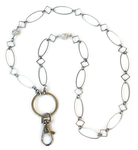Fashion Lanyard for Women by Silk Rose, Silver ID Badge Holder Necklace