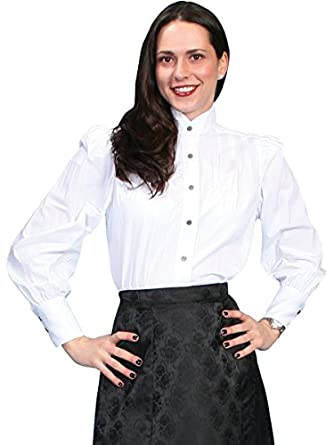 Victorian Blouses, Tops, Shirts, Vests Scully Wahmaker Womens Victorian Blouse - 775221-Wht $59.00 AT vintagedancer.com