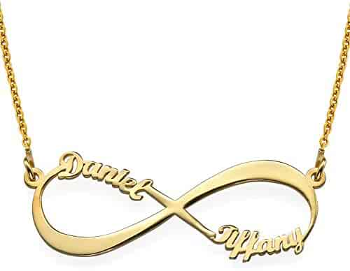 BINKILA Personalized 925 Sterling Silver Eternal Infinity Name Necklace Custom Made Any 2 Name Plates for Women