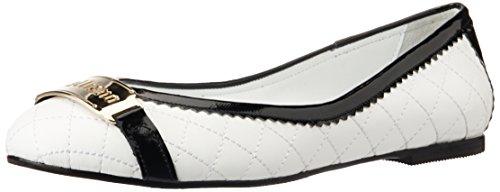 Galliano Women's White and Black Textile Ballet Flats