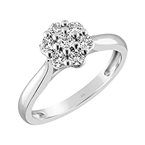 Brilliant Expressions 10K White Gold 1/2 Cttw Conflict Free Diamond 7-Stone Halo Engagement Ring (I-J Color, I2-I3…
