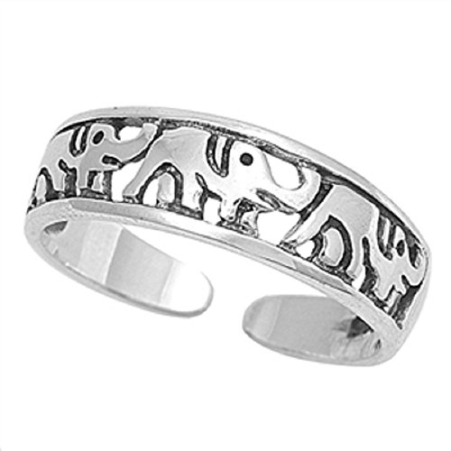 Chain Silver Toe Ring (Adjustable Size Toe Ring Solid 925 Sterling Silver Elephant Design Toe Ring (5mm))