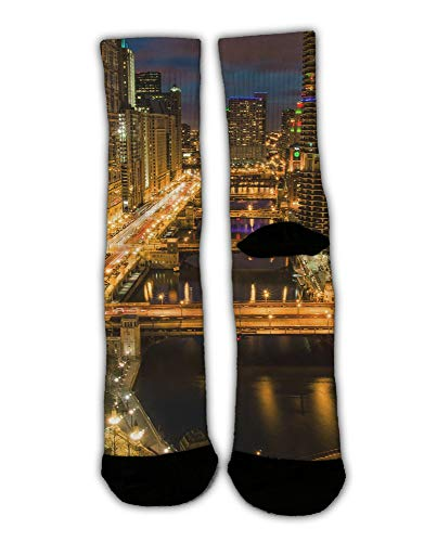 MrDecor Unisex Crazy Fun Cool USA Chicago Skyline Night View Print Stockings Colorful Athletic Sport Novelty Crew Tube Socks -