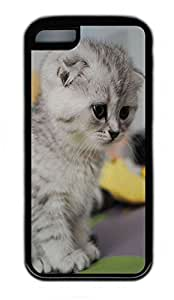 iPhone 5C Case, Personalized Protective Rubber Soft TPU Black Edge Case for iphone 5C - Sad Cat2 Cover
