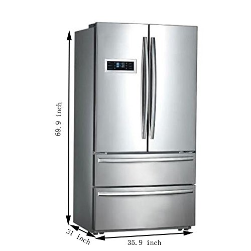 """Smad 36"""" Refrigerator Doors Freezer Stainless Steel with Maker, Ft."""