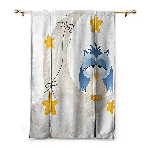 - DONEECKL Room Darkened Heat Insulation Curtain Kids Cute Owl Dozing on Crescent Moon with Stars Good Sleep Baby Print Breathability W27 xL64 Light Blue Pearl Earth Yellow