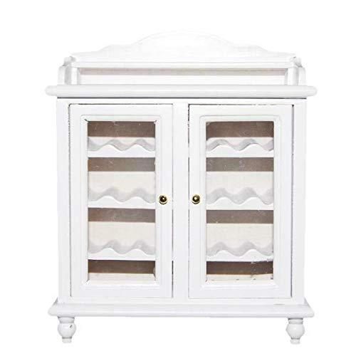 NATFUR Vintage 1/12 Doll House Miniature Wooden Wine Cabinet Living Room Furniture