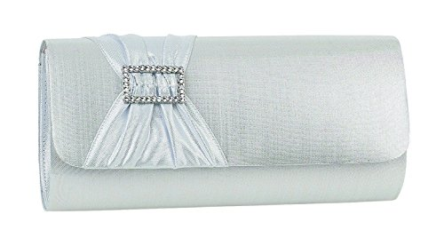 Silver Pleated Clutch Ladies A With Trim Diamante Ivory Textile Horizontal And Bag Band WUH6ngU