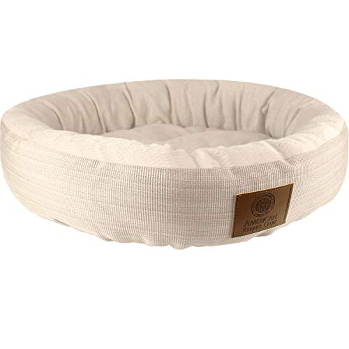 American Kennel Club Casablanca Solid Round Bed for Pets, Tan