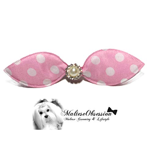 MalteseObsession Cutie Patootie Hair Bow Crystal Pearl - Korean Style Hair Jewel for Maltese (Dotted Pinky Pink) ()