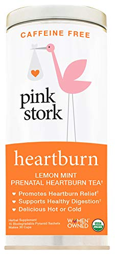 Pink Stork Heartburn: Lemon Mint Prenatal Heartburn Relief Tea, USDA Organic Loose Leaf Herbs in Biodegradable Sachets, Naturally Soothe Heartburn, Reduce Acid & Indigestion -30 Cups, ()
