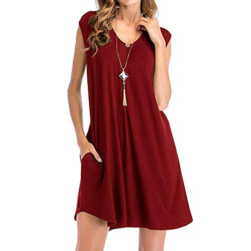 - Womens Summer Casual T Shirt Dresses Racerback Sleeveless Tank Top Dress Simple Solid Loose Swing Dress with Pocket Wine Red