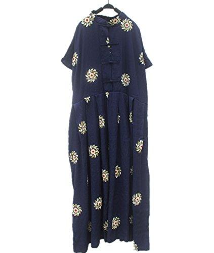 少ない作家おしゃれなYESNO jj9レディースロングマキシ刺繍花旗袍チャイナドレス100 %コットン中国Frogs高LooseウエストLarge Gathered Skirt