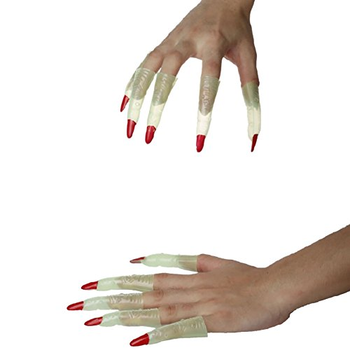 Jlong Halloween Finger Zombie Witch Costume Party Supplies Props Luminous False Nail Sets Scary Costumes
