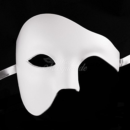 White Blank Phantom Masquerade Mask for Mens and