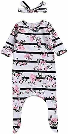 3f6e681a3 FTXJ 2PCS Toddler Baby Infant Stripe Floral Print Romper+Headbands Set  Outfit