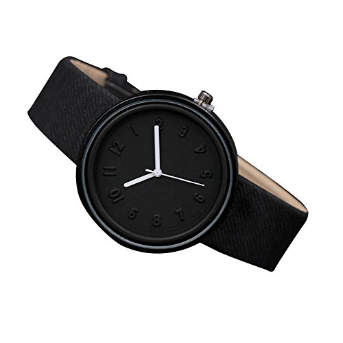 Start Unisex Simple Number Watches Comfortable Canvas Belt Wrist Watch Bracelet (Black)