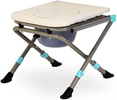 Cqq Badestuhl Kohlenstoffstahl-faltende Bedside-Toiletten-Unfähigkeit mit obenliegendem leichtem älterem Mobilitäts-Hilfskommode-Stuhl (Farbe : with backrest)