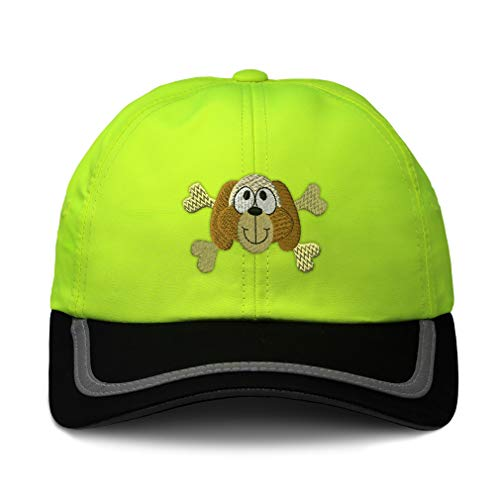 (Reflective Running Hat Dog with Cross Bones Embroidery Polyester Soft Neon Hunting Baseball Cap One Size Neon Yellow/Black Design Only)