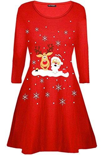 BE Jealous DONNA BABBO NATALE RENNA PARETE FIOCCO DI NEVE Costume Natale Vestitino stile anni '50 UK TAGLIE FORTI 8-26 - RENNA MURO ROSSO, Plus Size (UK 20/22)