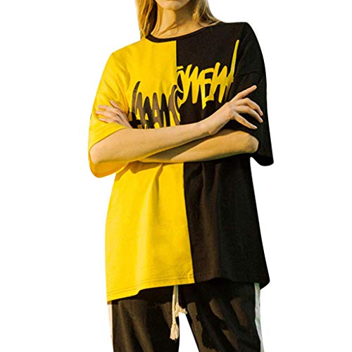Big Sale! BBesty Unisex Summer Streetwear Casual Hip-Hop Scratch Printed Patchwork Top Blouse Pullover -