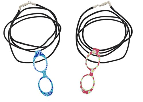 Optispex Magnifier Reader Glasses Necklace (2 Pair), Magnetic Clasp (Tropical Blue, Pink Daisy)