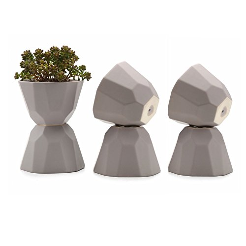 JynXos 5 Inch Ceramic Geometric Pattern Semi Luster Surface succulent Plant Pot/Cactus Plant Pot Flower Pot/Container/Planter Matte grey Package 1 Pack of 6 by JynXos