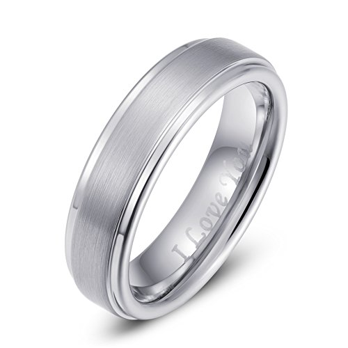 Left & 4Th Tungsten Carbide Ring Men Women 6mm Wedding Band Engagement Ring Comfort Fit Engraved I Love You